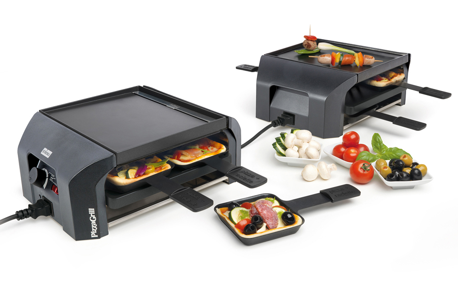Stöckli PizzaGrill FourFour Set anthrazit Tischgrill Mini-Pizza Raclette